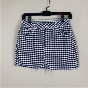 Topshop gingham denim raw hem mini skirt